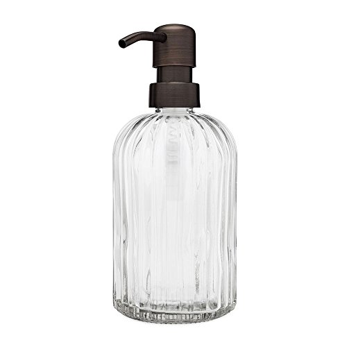 Rail19 Fluted Glass Nouveau Soap Dispenser with Metal Soap Pump for The Kitchen and Bathroom Great for Lotions and Liquid Hand Soaps (Farmhouse Bronze) ()