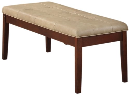 ACME Britney Cream Faux Leather Bench