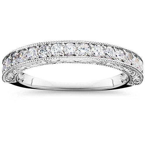 1/2 CT Vintage Natural Diamond Wedding Ring 14K White Gold - Diamond Vintage Ring