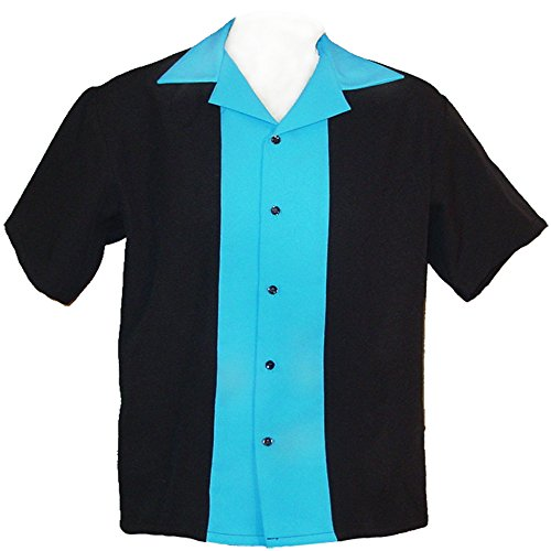 Kids Retro Bowling Shirt ~ Classic 57's in 7 Colors Children Sizes (Small 2T-3T, Turquoise) (Shirt Classic Bowling)