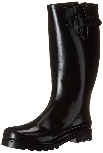 Twisted Mujeres Drizzy Tall Cute Botas De Lluvia De Caucho Negro