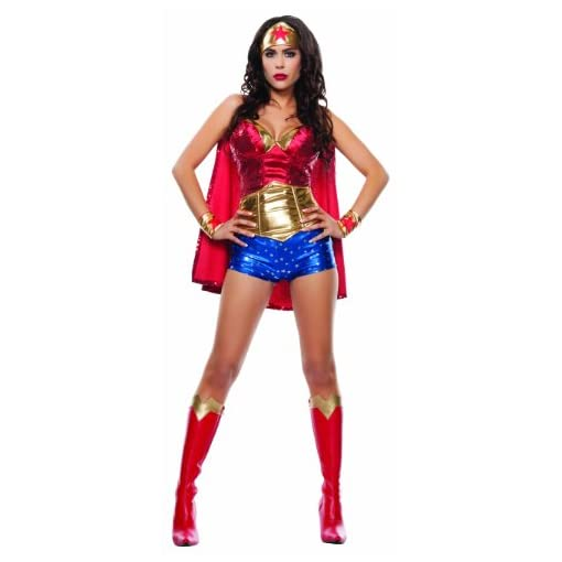 Starline Women's Wonder Lady Sexy 5 Piece Costume Set with Headpiece