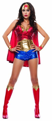 Starline Women's Wonder Lady Sexy 5 Piece Costume Set with Headpiece, Red/Gold, Medium (Wonder Woman Adult Costumes)
