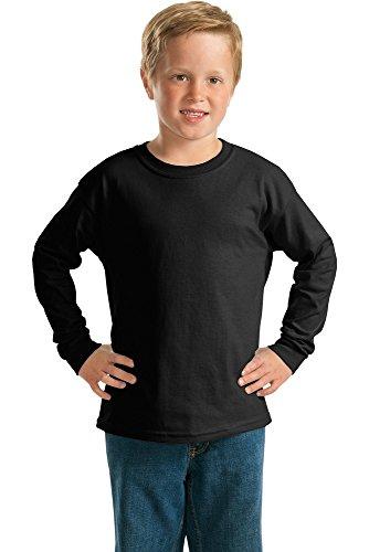 (Blackouttees Gildan 2400b Youth Kids Long Sleeve T-Shirt Gildan - Youth Ultra Cotton Long Sleeve T-Shirt 2400B Black XL)