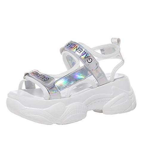 (LOVOZO 2019 Newly Clear SummerWomenLadies Neutral Open Toe Letter Platform Sandals Cool Shiny Shoes Silver)