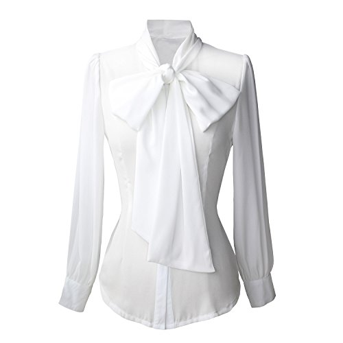 OCEAN.YY Chiffon Blouse for Womens Tie-Bow Neck Sheer BS01 (S, BS06-White) -