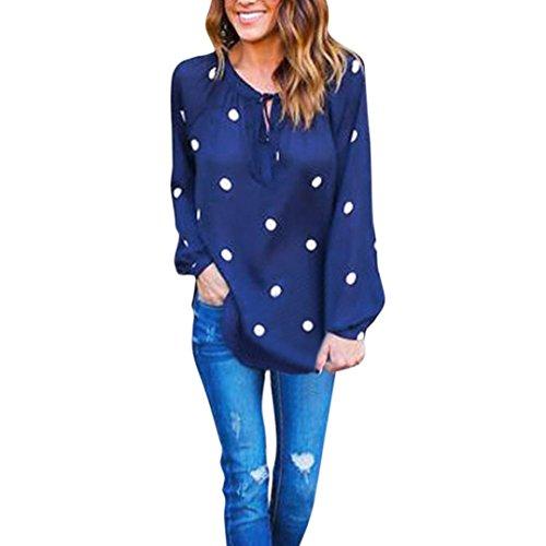 IEason Women Blouse Women's Lady Loose Long Sleeve Chiffon Casual Blouse Shirt Tops Fashion Blouse (S, Blue)