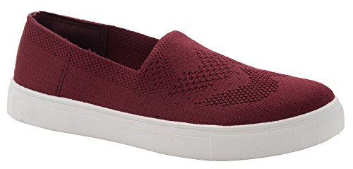 Cambridge Select Donna A Punta Tonda Leggera In Mesh Traspirante Elasticizzata Slip-on Fashion Sneaker Wine