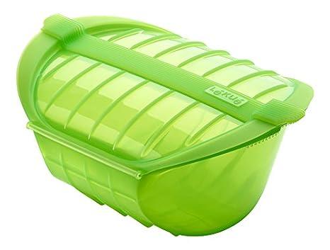 Lékué - Estuche hondo XL para el microondas, capacidad de 1000 ml, para 3-4 personas, color verde