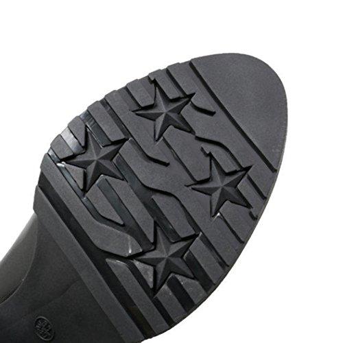 Inkach Dames Winterlaarzen | Kniehoge Laarsschoenen | Hoge Buis | Mid-heels Bandage Enkellaarzen Zwart