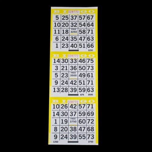 3 on Pushout Bingo Paper Cards - Yellow - 250 sheets - 750 cards