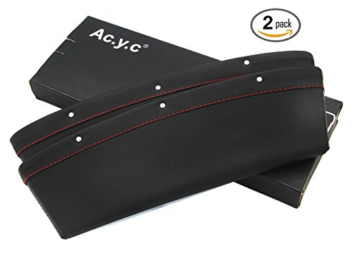 Ac.y.c 2 Pieces Car Pocket Organizer Seat Console Gap Filler Side - Premium PU Full Leather Inside Out Car Interior Accessories - Stop it before Drop ( Leather-Black)
