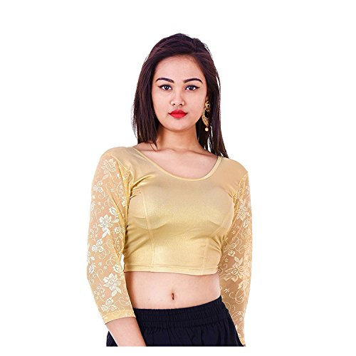 Fressia Fabrics Readymade free Size saree blouse for women party wear choli118 golden