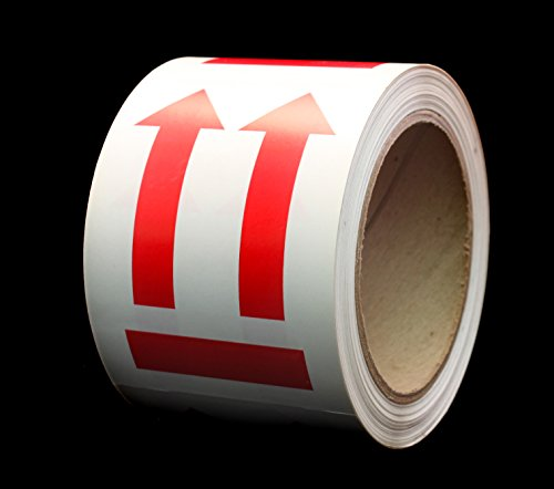 """ChromaLabel This Side End Up Stickers - International Language Free Big Red Arrow Symbol 