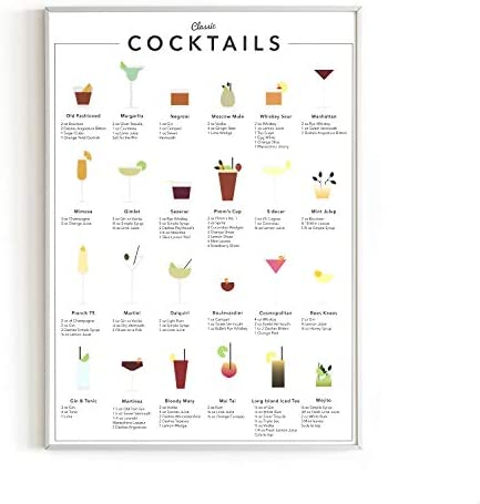 Cocktail Mixology Wall Art Print for Bar by Haus and Hues | Alcohol Bar Themed Kitchen Home Office Apartment Wall Decor Home Bar Accessories | Unframed/Frameable Poster Wall Decoration | 12\u201d x 16\u201d