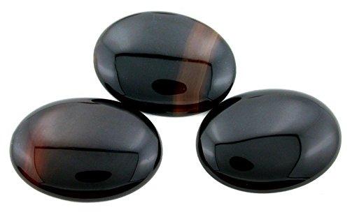 ONE 40x30 40mm X 30mm Natural Black Onyx Cab Cabochon Gem Stone Gemstone Cm118