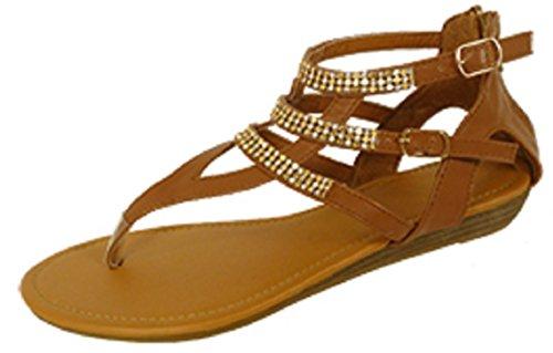 Shoes 18 Womens Microsuede Gladiator Sandals Flats Shoes W/Rhinestones (6404 9/10, Cognac)