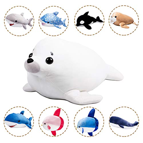 (LALA HOME White Seal Plush | 28'' Large Stuffed Animal | Way Soft Hugging Body Pillows | Orca Toys for Kids | Children's Gift)