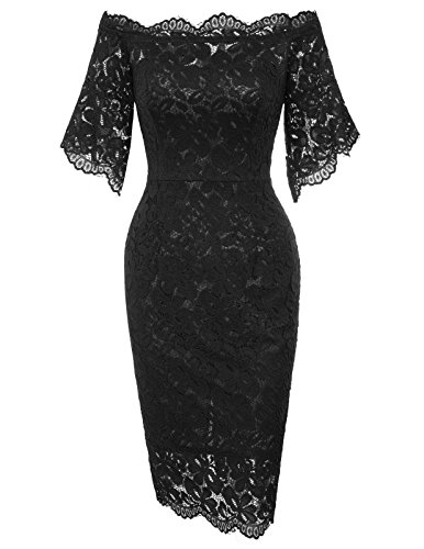 GRACE KARIN Women's Short Sleeve Floral Lace Elegant Party Mini Dress M Black