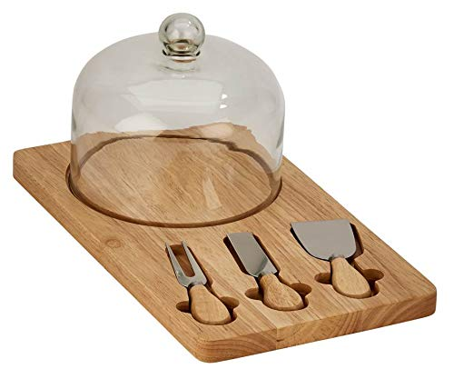 - Creative Gifts International 15840 015840 Cheese Board with Glass Dome and 3 Utensils, Natural Wood