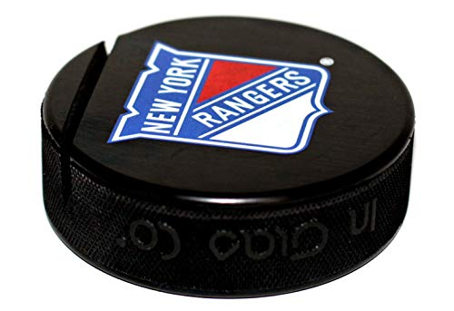 (EBINGERS PLACE New York Rangers Basic Logo Hockey Puck Business Card Holder)