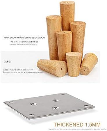 PopHMN Patas de Madera para Muebles, 1/2/4 Piezas Patas de Madera para sofá, Patas de Repuesto para Muebles cónicos sólidos de 15 cm / 30 cm con Placa ...