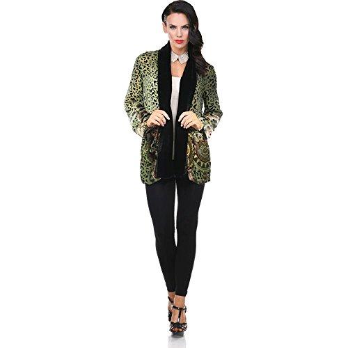 Aris A Velvet Silk Burnout Leopard Print- Medallion Cardigan