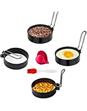 Egg Ring,Egg Ring Set,Multifunction Non Stick Egg Rings,Poached Egg Rings,Egg Cooking Rings,Round Egg Pancake Maker Mold with Oil Brush,Stainless Steel Non Stick Metal Circle Shaper Mold,Kitchen Cooking Tool for Frying McMuffin or Shaping Eggs (6 Pack)