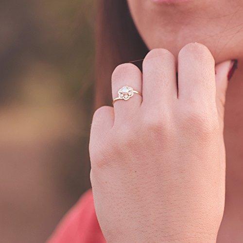 Conjunto niña mujer oro amarillo 18 ktes 1ª Comunión anillo y pendientes flor con perlas y circonitas