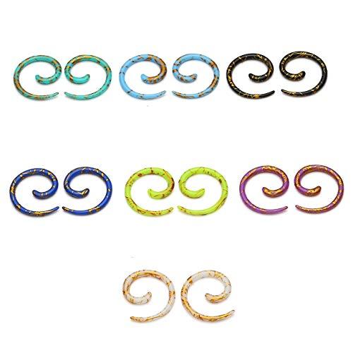 PiercingJ 14pcs Set Mixed 7 Colors UV Acrylic Spiral Snail Tapers Plug Sizes 14G-3/4 Taper Ear Stretching Kit Ear Gauges Plugs Kit