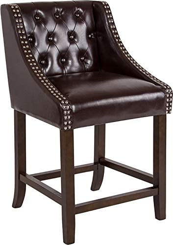 EMMA OLIVER 24 H Tufted Walnut Counter Height Stool in Brown Leather