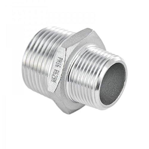 De acero inoxidable de Racor recto reductor boquilla doble red V4A rosca de montaje
