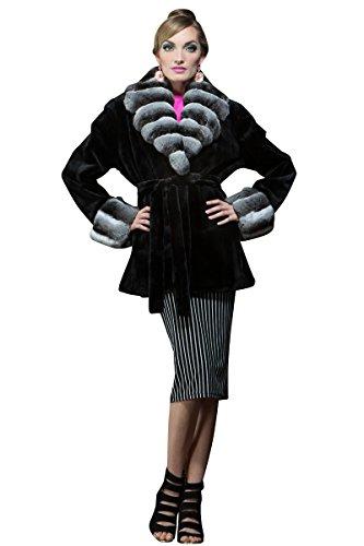 Sheared Mink Jacket - EM-EL Women's Black Sheared Mink and Chinchilla Fur Jacket