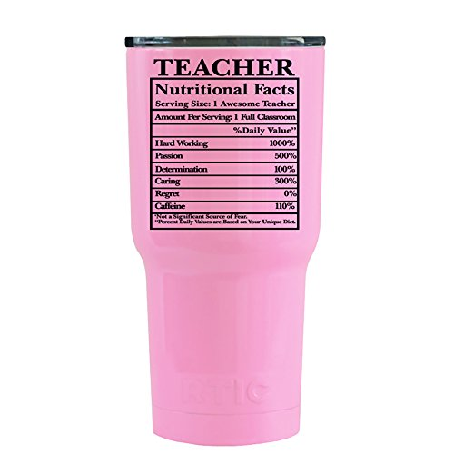 RTIC Teacher Nutritional Facts on Pretty Pink 20 oz Stainles