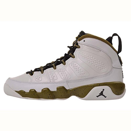 Nike Air Jordan 9 Retro BG (white / black / militia green) Kids Basketball Shoes, Size 6 Y by Jordan