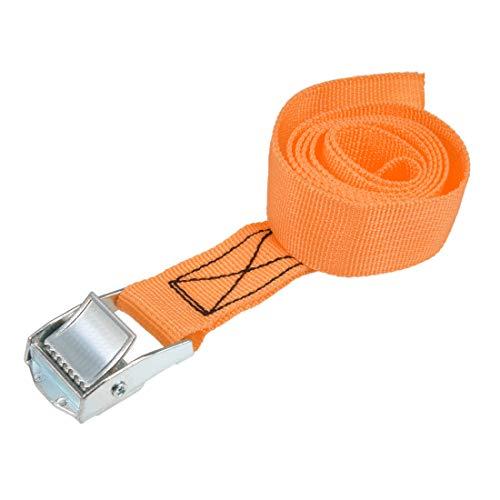 uxcell 荷物ストラップ ラチェット式 ベルト 荷物固定ロープ 荷物落下防止 カムバックル付き ロード250Kg 1Mx25mm オレンジ