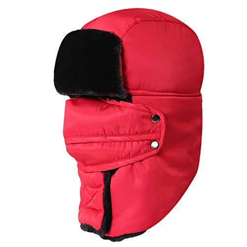 Men Women Russian Thermal Trapper Waterproof Bomber Hat Hunting Ski Snow Cap with Face Mask Fleece,Red ()