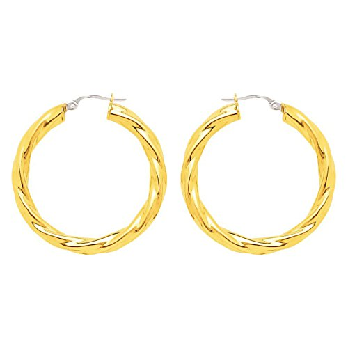 So Chic Bijoux © Boucles d'oreilles Femme Créoles Torsades Légères Diamètre 25 mm Fil 4 mm Or Jaune 750/000 (18 carats)