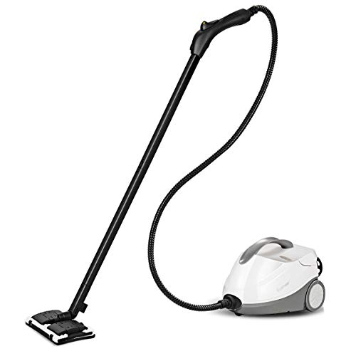 Goplus Rolling Steam Cleaner Multifunctional Adjustable Steam Cleaning Machine Professional Heavy-Duty Steam Cleaner for Floors, Carpets, Windows, Vehicles (White+ Grey, 2000W) by Goplus