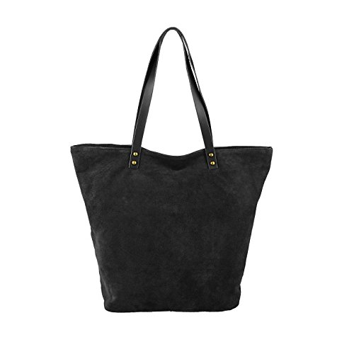Din Top Dark Obc Blue Italy Shopper Black navy a4 Ladies Leather Base Made Star Bag In Shoulder X34hx13dcm Suede 30 40 Wxhxd zzUgq