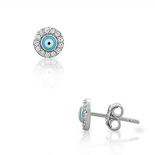 (925 Sterling Silver White CZ Evil Eye Hamsa Small Womens Girls Stud Earrings)