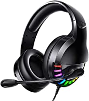 Wallfire Wired Gaming Headset 3.5mm Wired Surround Stereo Headphone Earphone with Mic Volume Knot for Desktop/