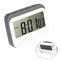 Winkeyes Kitchen Timer Digital Countdown Timer Cooking Magnetic Timer Count Up Alarm Clock with Large Display Magnetic Stopwatch Timers 12/24 Hours Time Display Back Stand