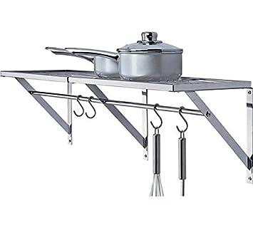 2 x fuerte y se puede montar en pared diseño cromado estantería de pared de cocina con barras para guardar sartenes y utensilios: Amazon.es: Bricolaje y ...