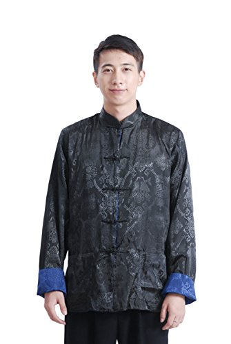 Reversible Silk Coat (AvaCostume Men's Chinese Style Classic Pattern Reversible Jacket Coat Large Black Navy)