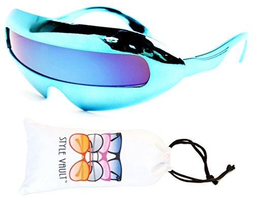[V160-vp Style Vault Robot Space Party Sunglasses (B2229F Chrome Blue-Blue Mirror, mirrored)] (Robocop Halloween Costume)