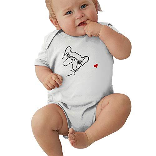U88oi-8 Short Sleeve Cotton Bodysuit for Baby Boys and Girls, Cute French Bulldog Crawler White ()