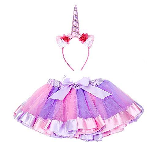 (Maticr Kids Rainbow Tulle Tutu Bow Tie Skirt & Unicorn Flower Headband Girls Costume Kit (Pink, Small))