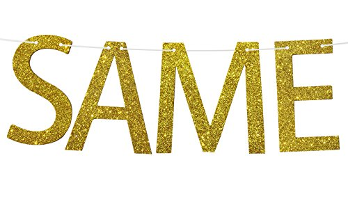 Famoby Gold Glittery Same V Forever Banner for Bachelorette Party Decoration