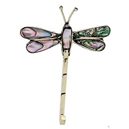 Artisana Alpaca Silver Abalone Dragonfly Pin
